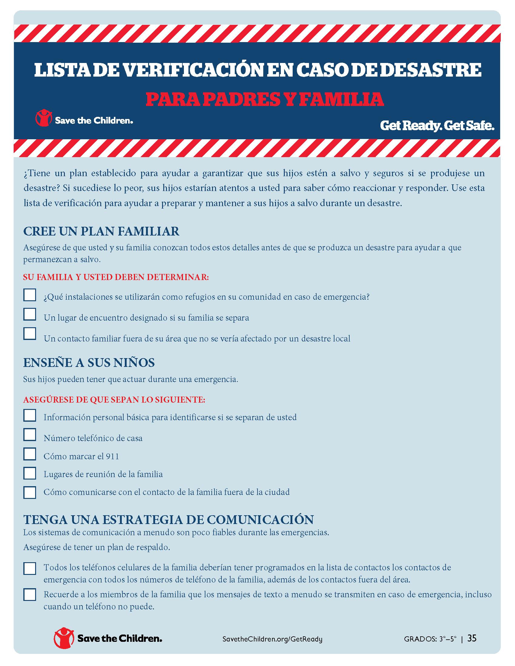 Lista de Verificación en Caso de Desastres para Padres y Familias
