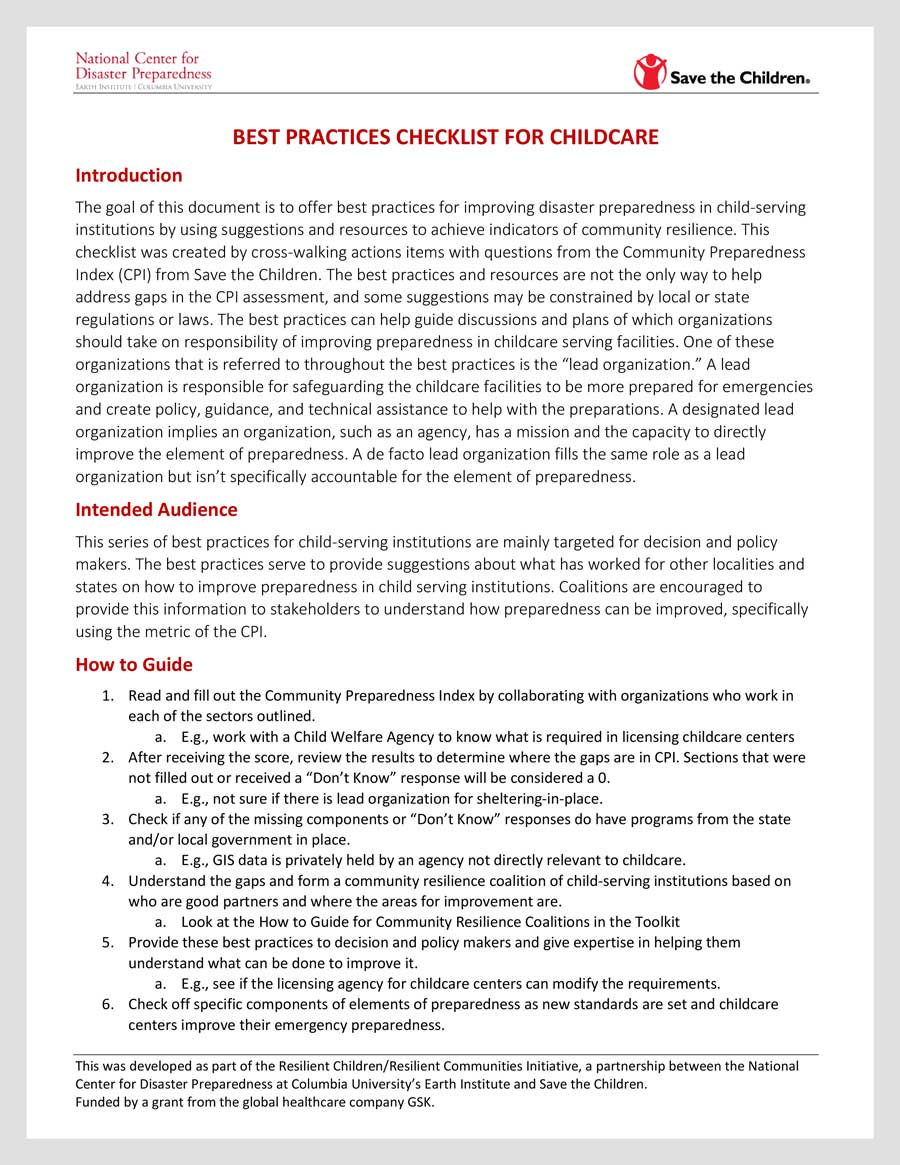 rcrc best practice checklist for childcare rcrc toolbox