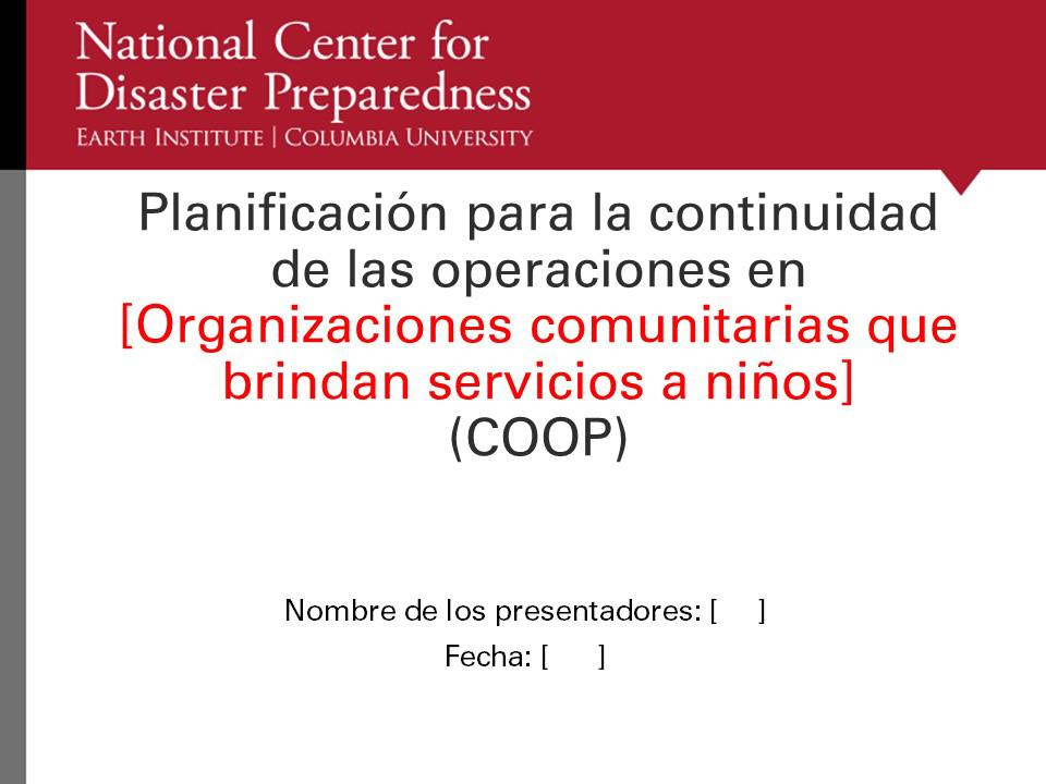 Paquete de Planificación COOP