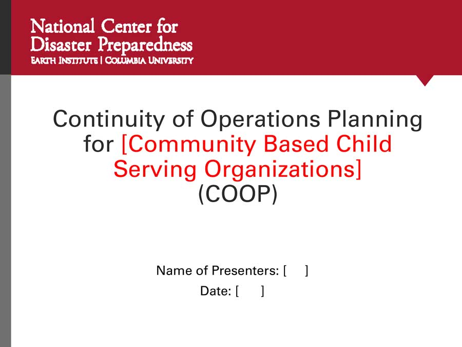 Continuity of Operations Plan (COOP) Training Presentation, Guide, & Plan Templates