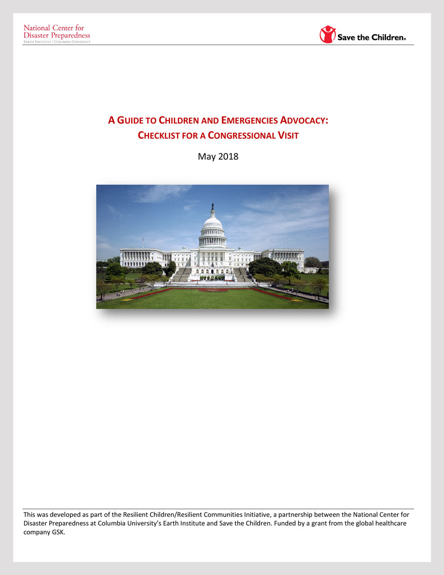 A Guide to Children and Emergencies Advocacy: Checklist for a Congressional Visit
