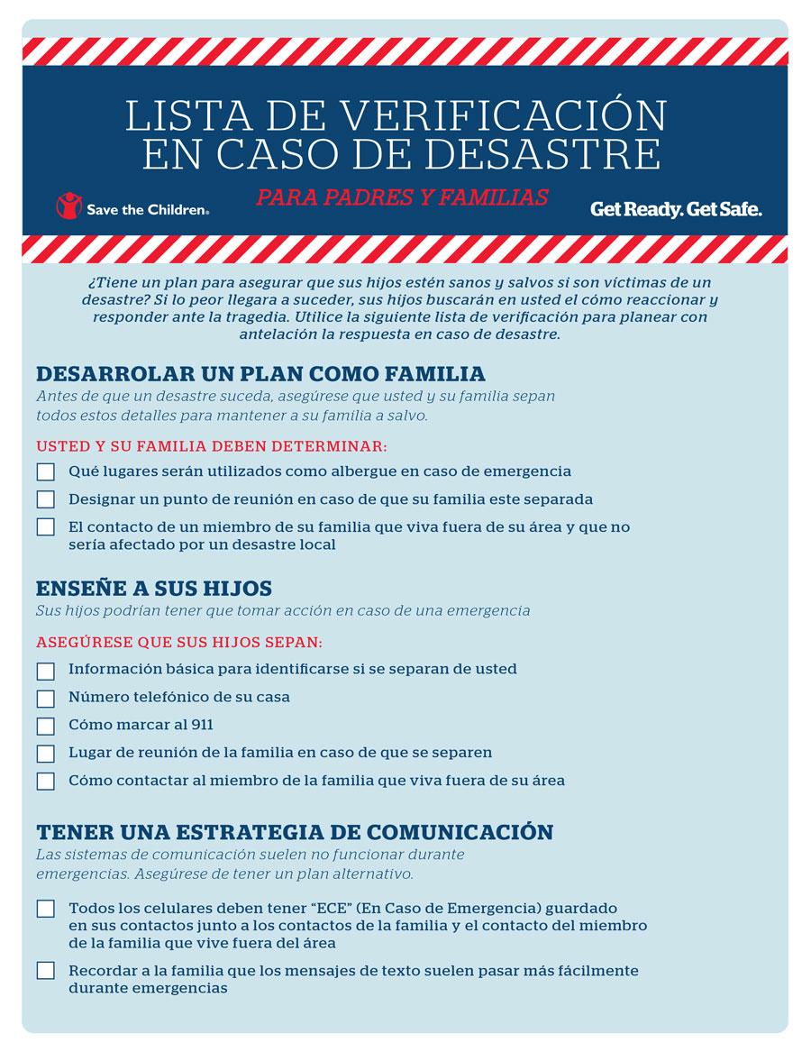 Lista De Verificación En Caso De Desastre: Para Padres y Familias