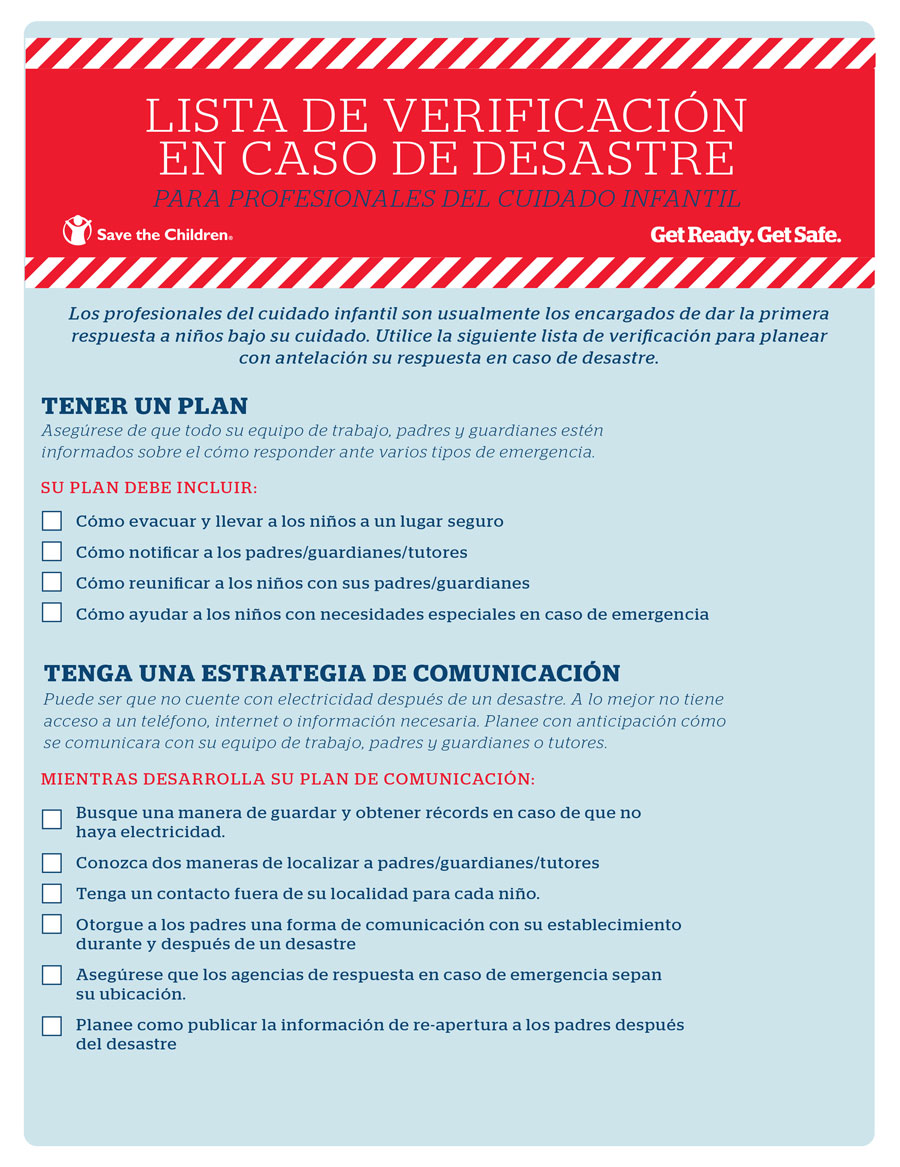 Lista de Verificación en Caso de Desastres para Profesionales de Cuidado Infantil