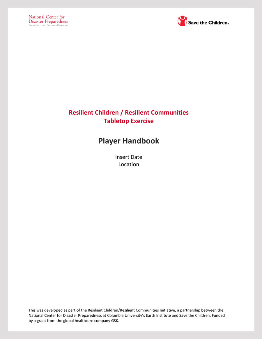 Community-wide Tabletop Exercise: Player Handbook