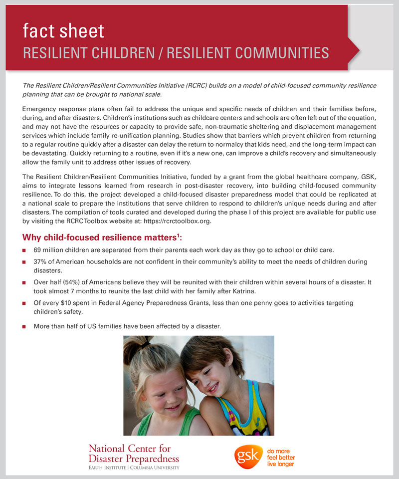 Resilient Children/Resilient Communities Initiative (RCRC) Fact Sheet