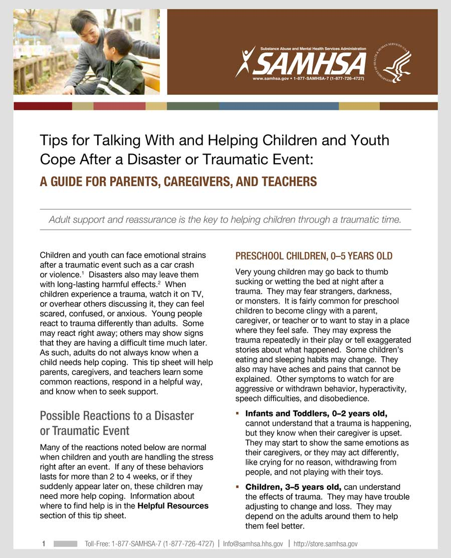 Tips for Helping Children After a Disaster or Traumatic Event