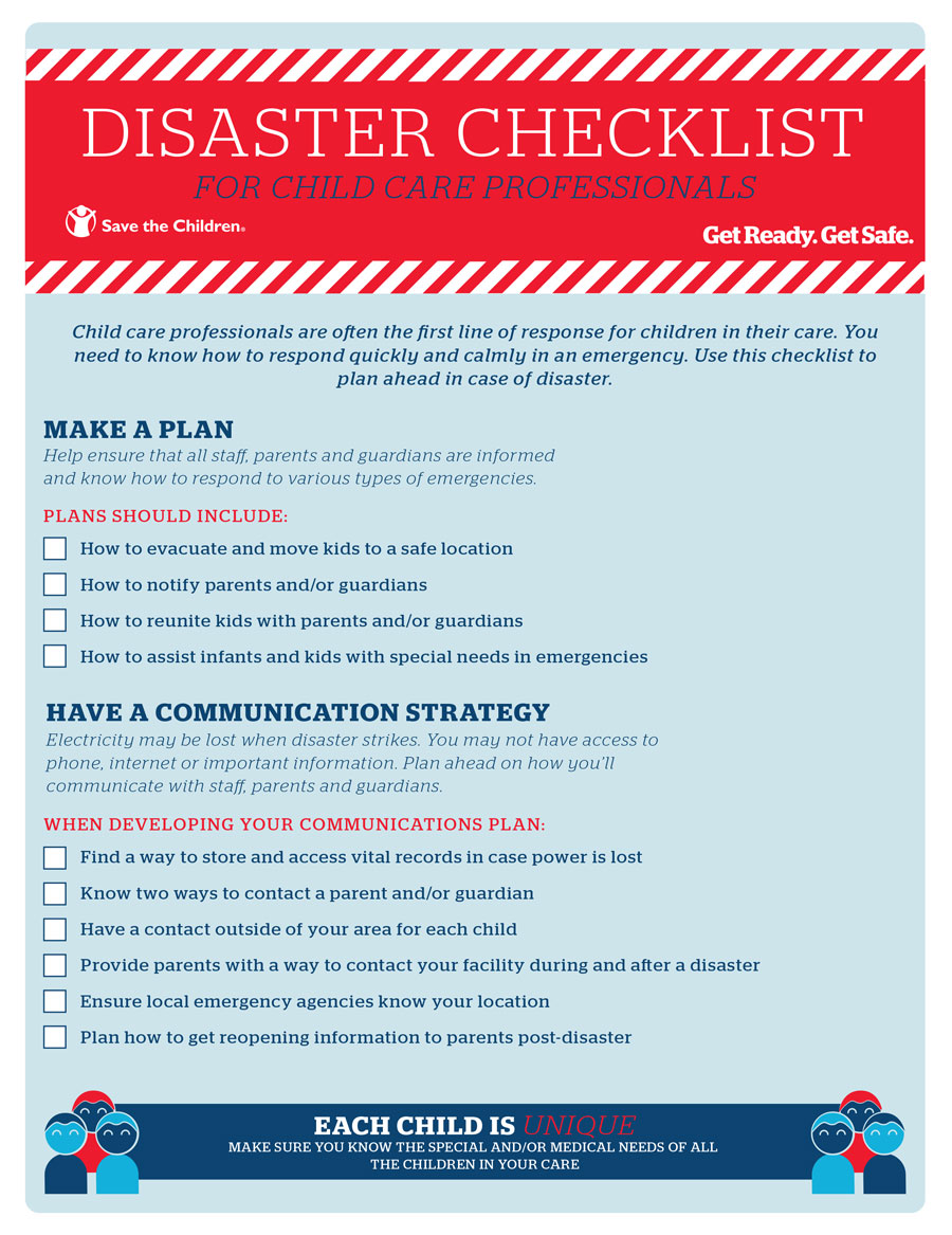 Disaster Checklist for Childcare Professionals