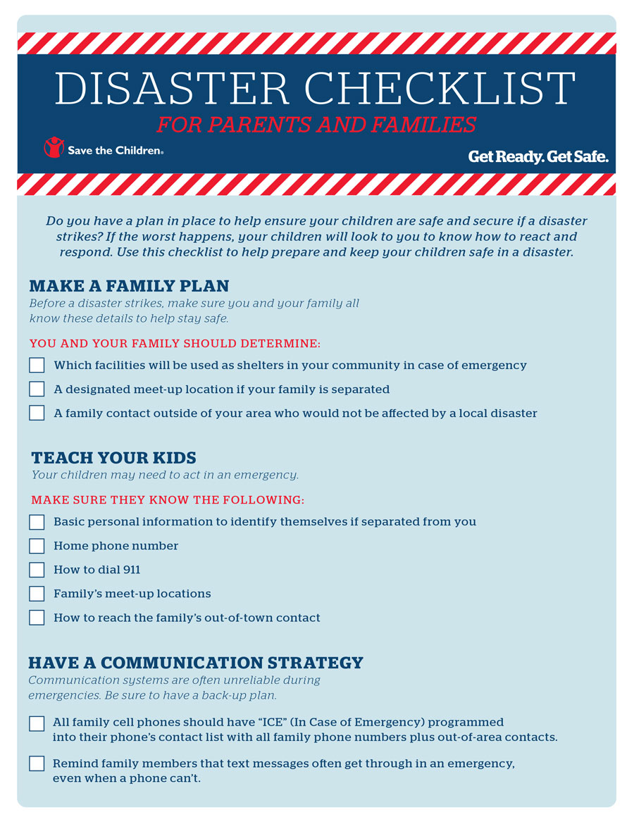 Disaster Checklist for Parents