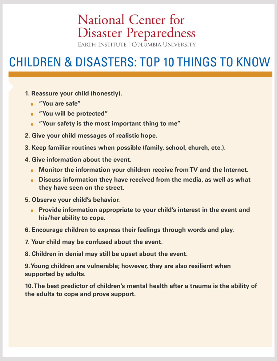 Children and Disasters: Top 10 Things to Know