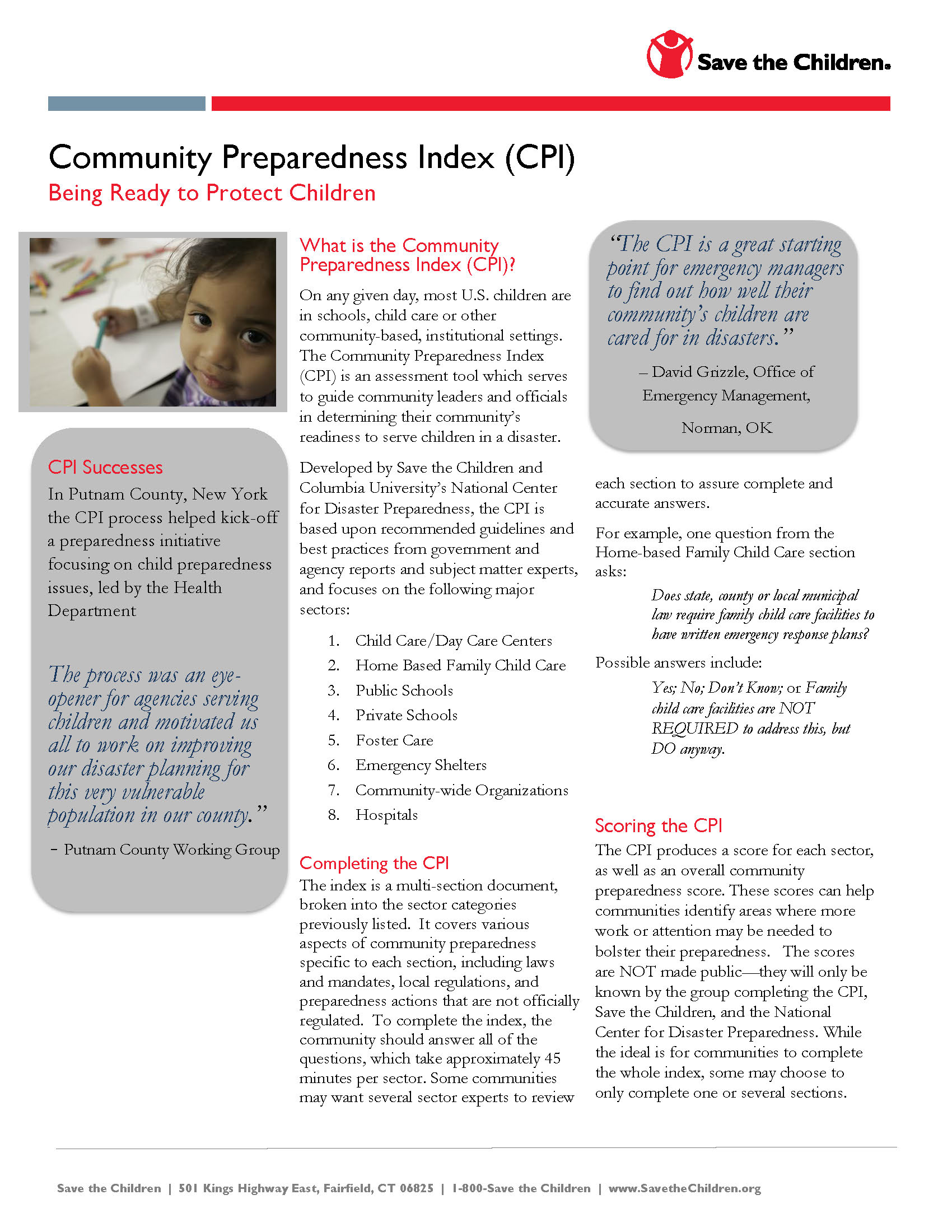 Community Preparedness Index: Fact Sheet