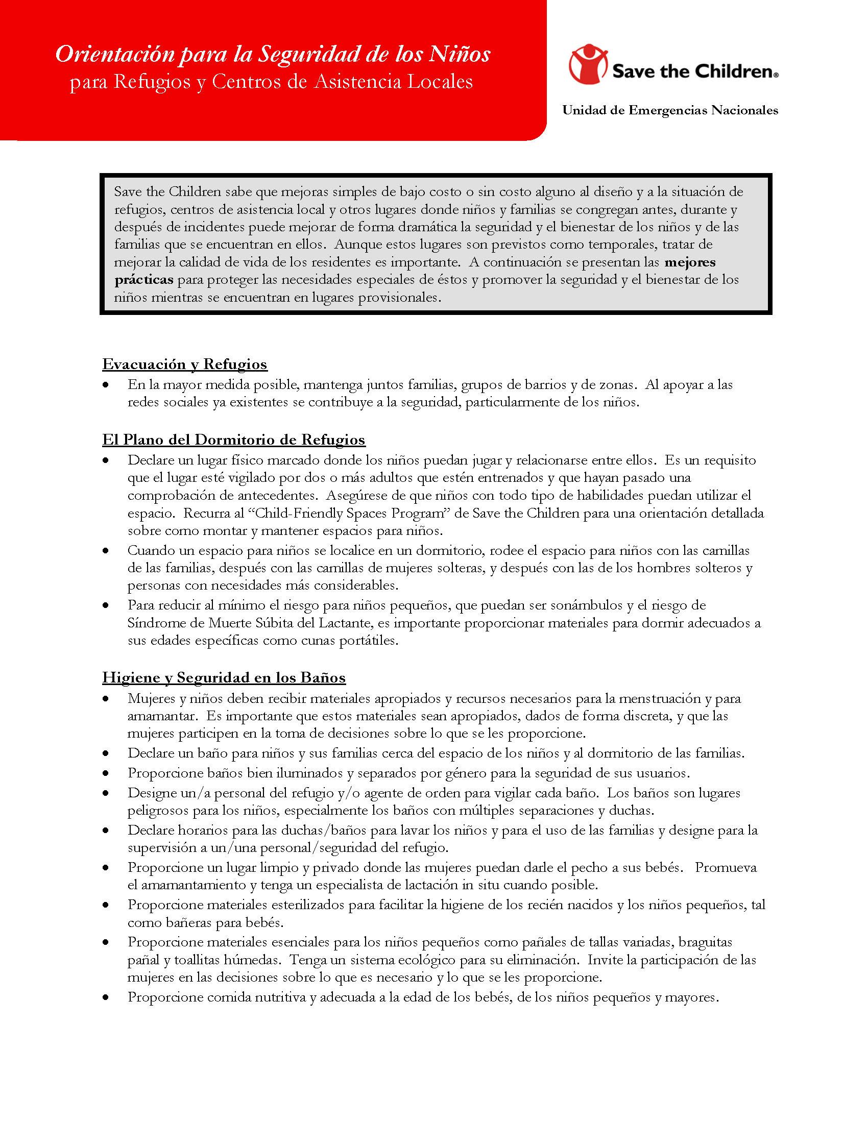 Orientación para Refugios de Desalojo de Emergencia: Seguridad General de los Niños