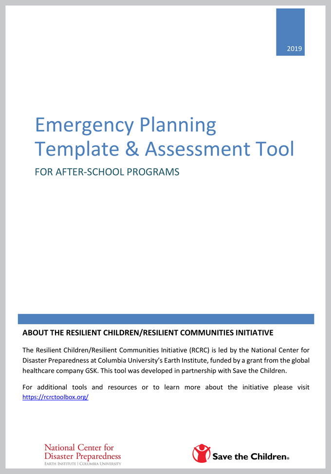 Emergency Planning Template and Assessment Tool for After-School Programs