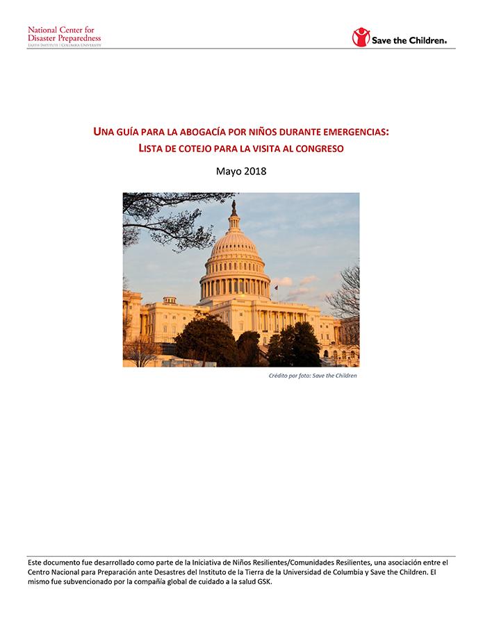 Una Guía de Abogacía para Niños y Emergencias: Lista de Cotejo para una Visita al Congreso