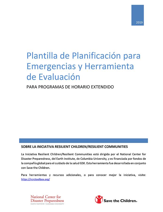 Plantilla de Planificación para Emergencias y Herramienta de Evaluación para Programas de Horario Extendido