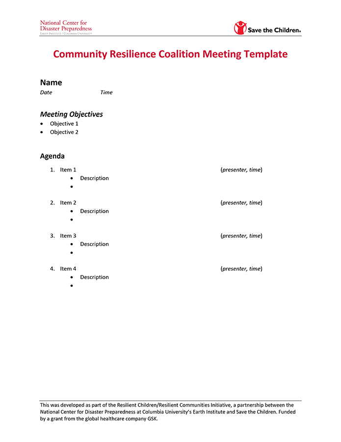Community Resilience Coalition Meeting Template