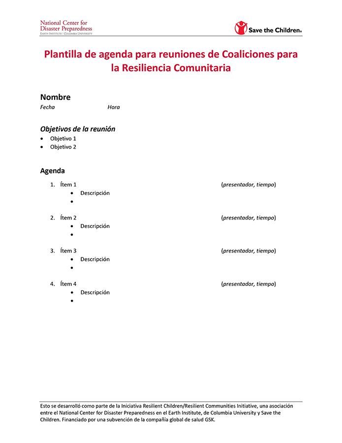 Plantilla de Reuniones para Coaliciones para la Resiliencia Comunitaria