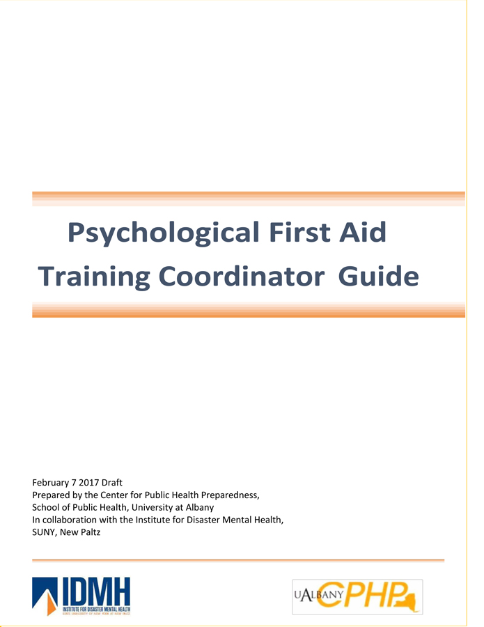 Psychological First Aid Training Coordinator Guide