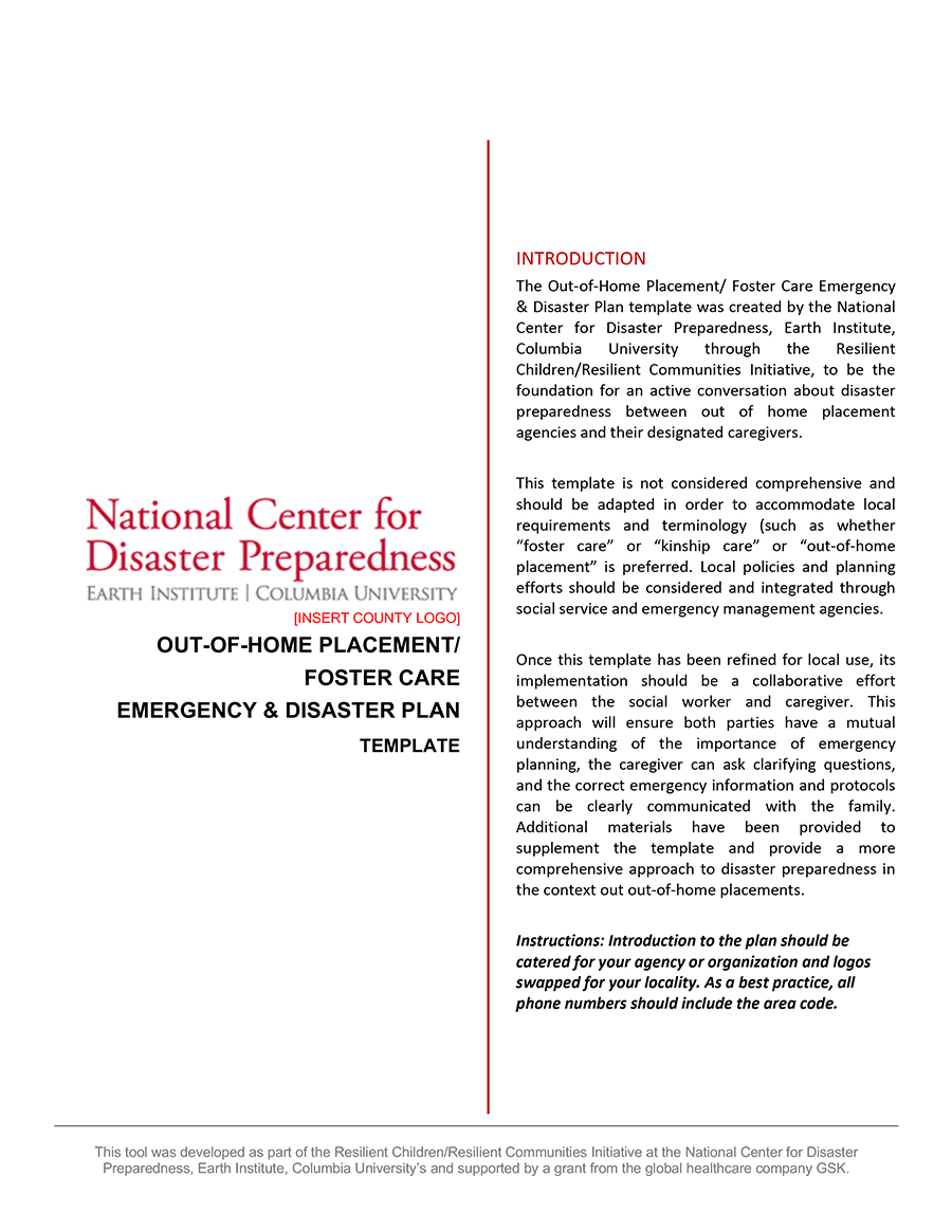 Out-of-Home Placement/Foster Care Emergency & Disaster Plan Template