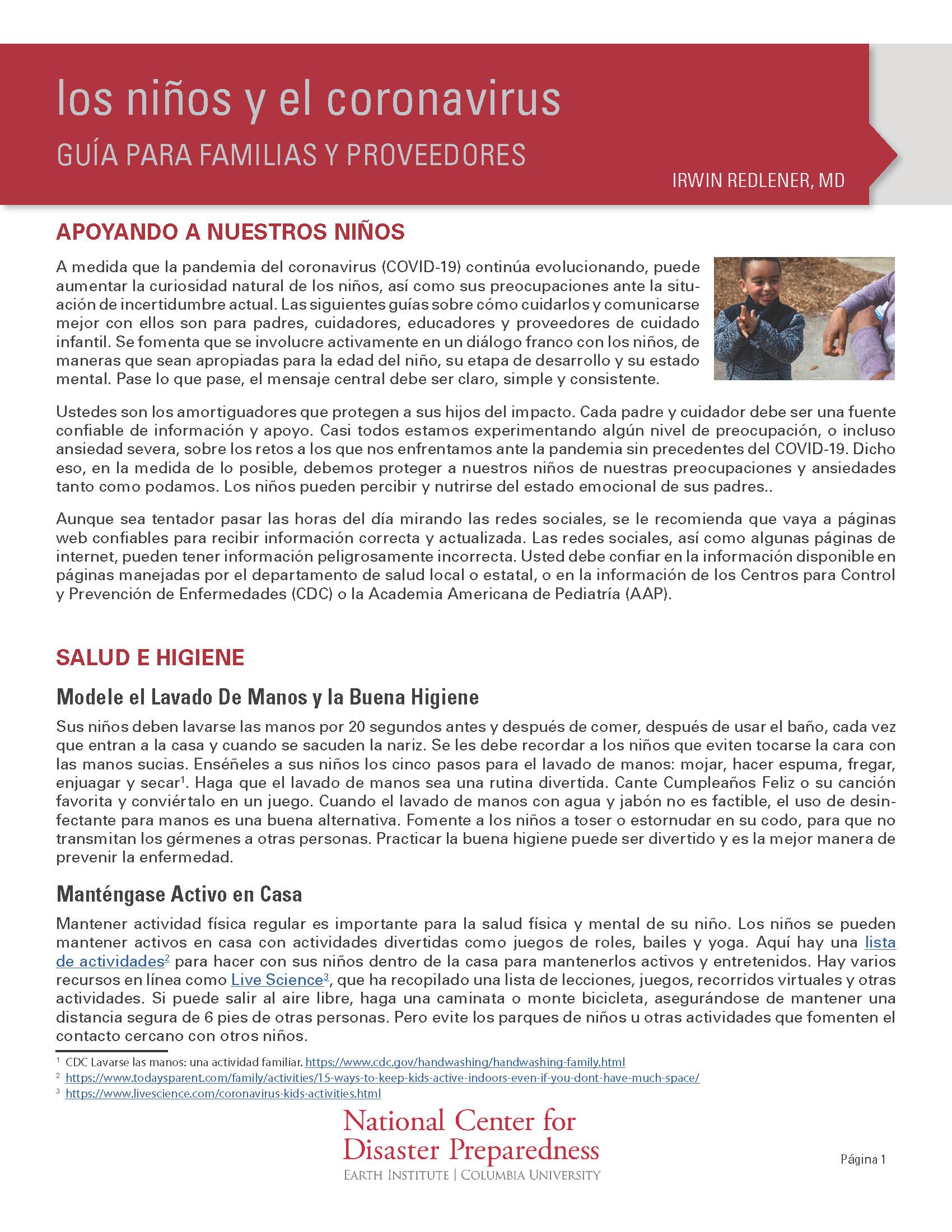 Los Niños y el Coronavirus: Guía para Familias y Proveedores