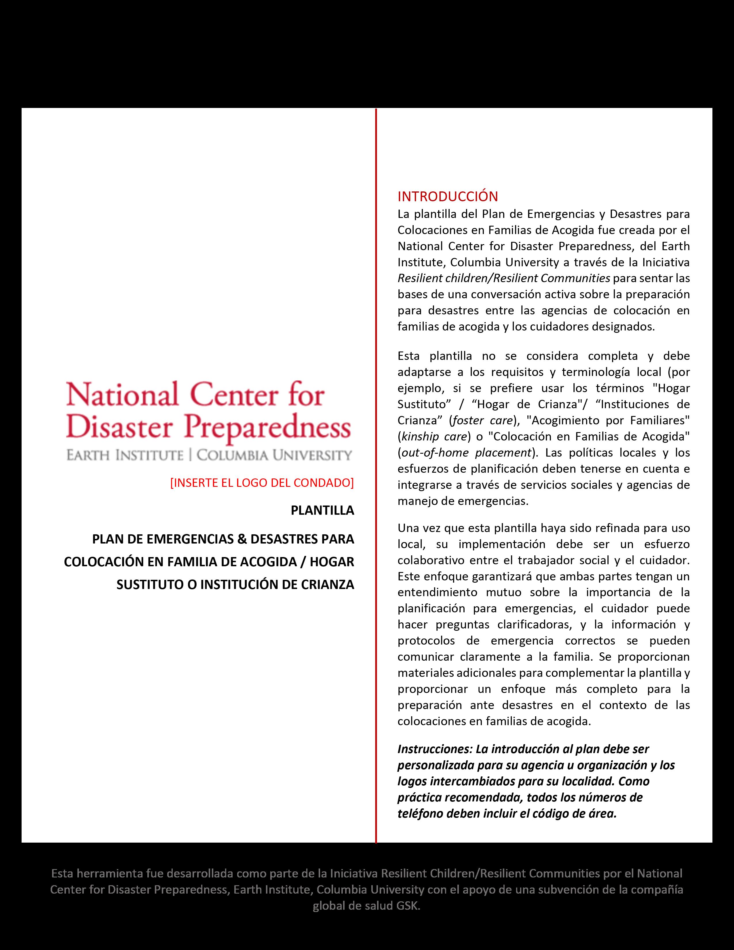 Plantilla Plan de Emergencias y Desastres para Colocación en Familias de Acogida/Hogares Sustitutos o Instituciones de Crianza