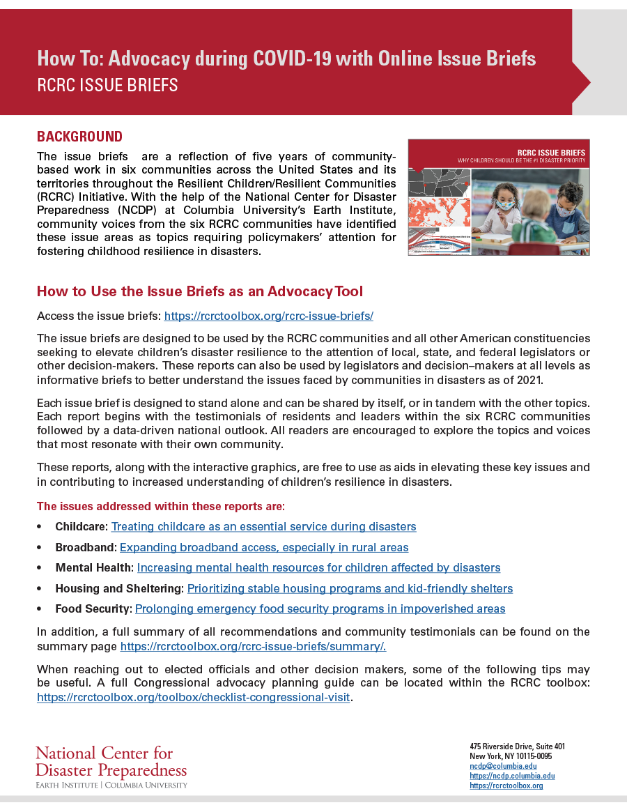 Advocacy during COVID-19 with Online Issue Briefs
