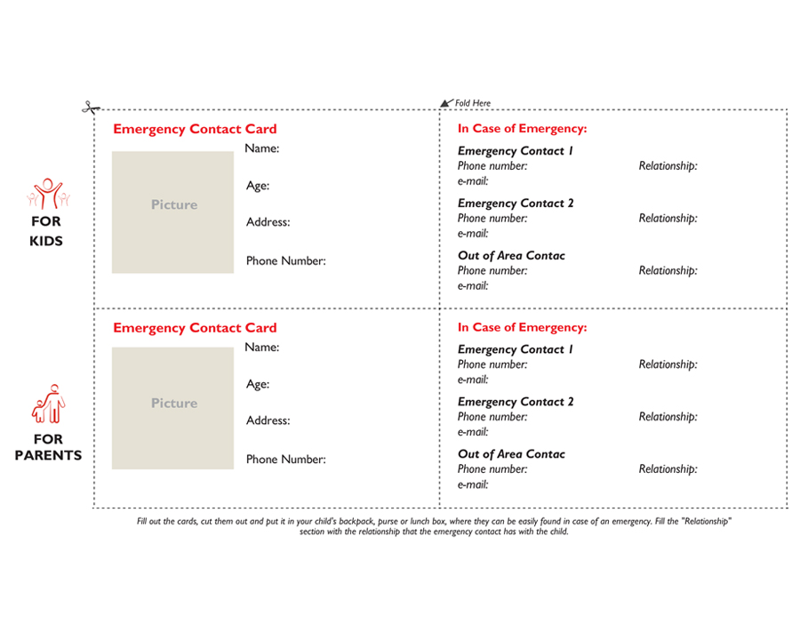 Emergency Contact Card for Children