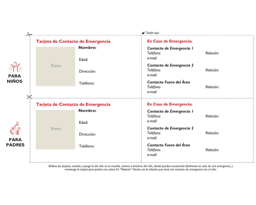 Tarjetas de Contactos de Emergencia para Niños