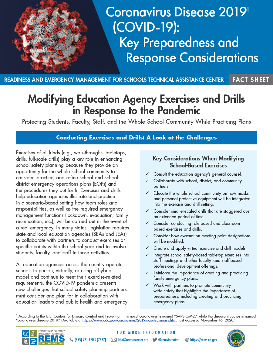 Modifying Education Agency Exercises and Drills in Response to the Pandemic