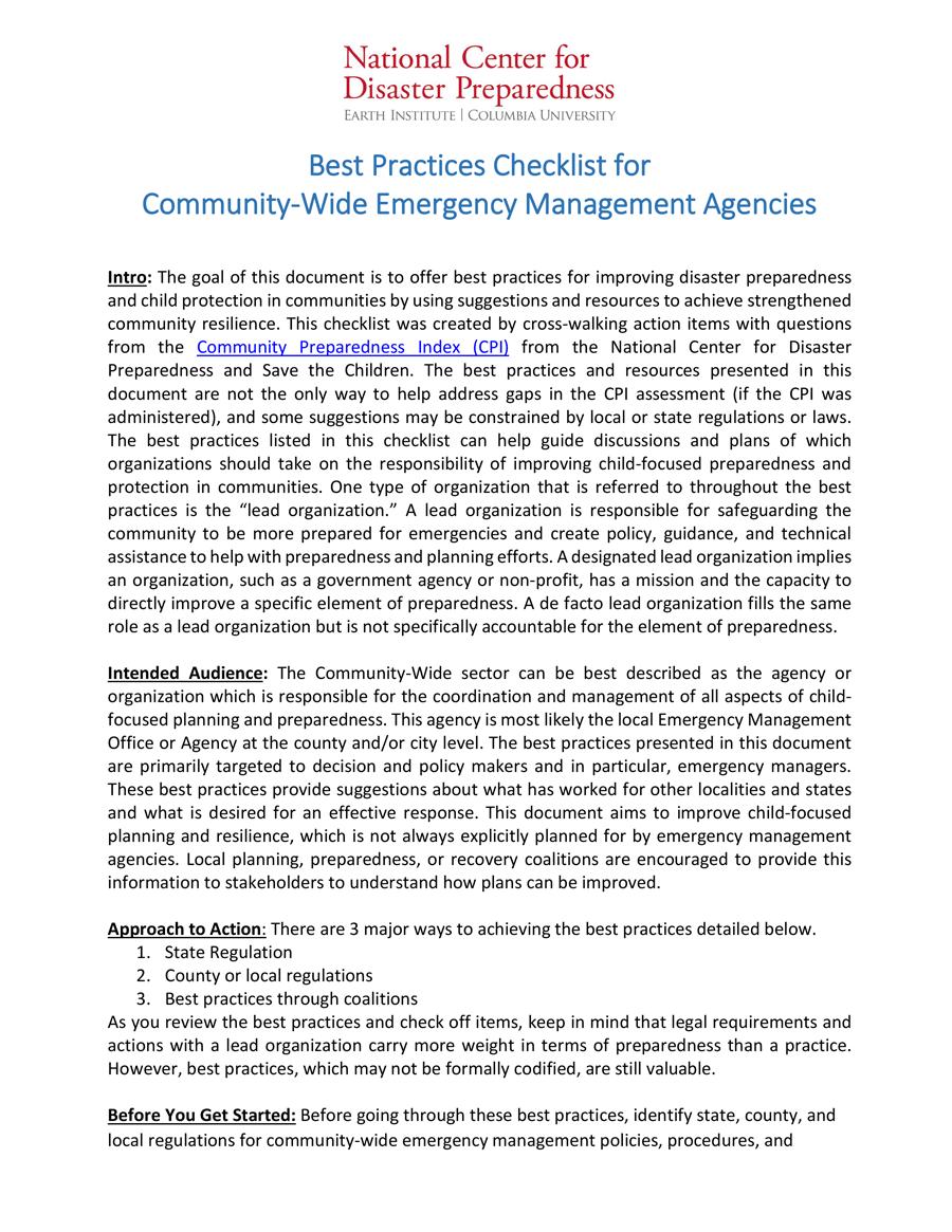Lista de Cotejo de Mejores Prácticas de la Iniciativa RCRC para Oranizaciones de Manejo de Emergencia a Nivel Comunitario