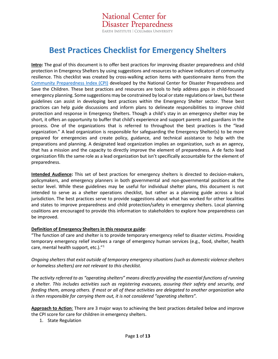 RCRC Best Practices Checklist for Emergency Shelters