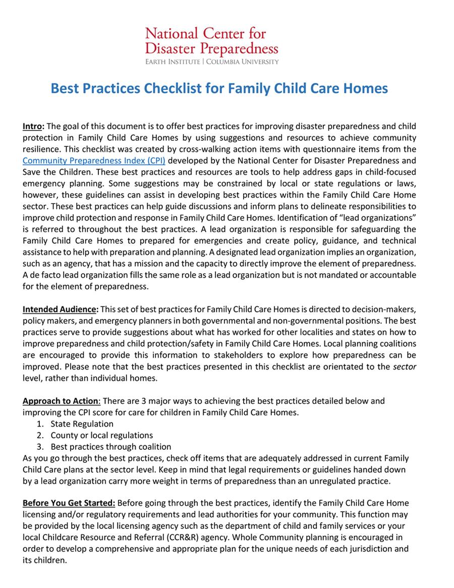 Lista de verificación para hogares de cuidado infantil familiar