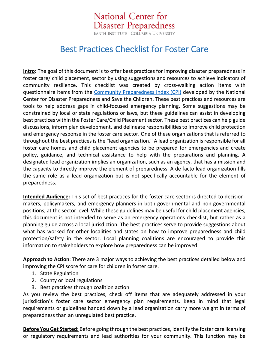 RCRC Best Practices Checklist for the Foster Care Sector