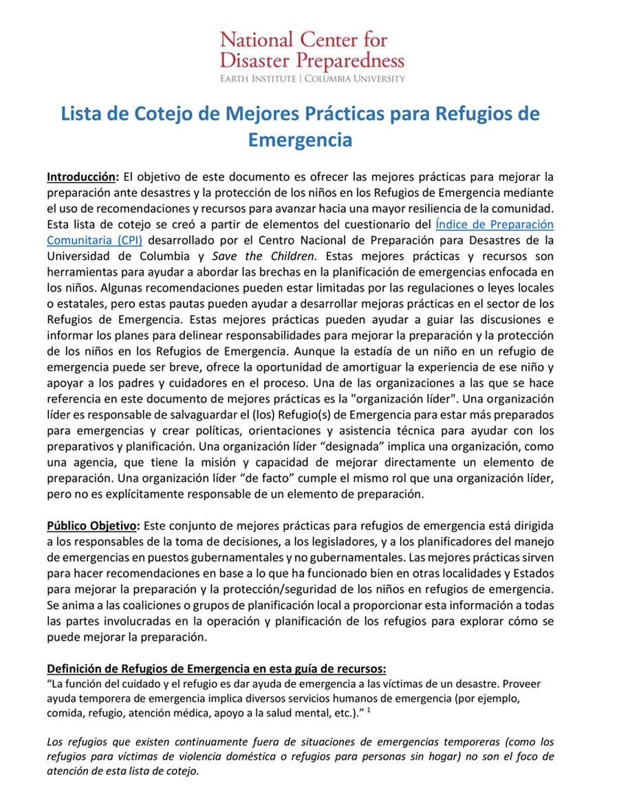 Lista de Cotejo de Mejores Prácticas RCRC para Refugios de Emergencia